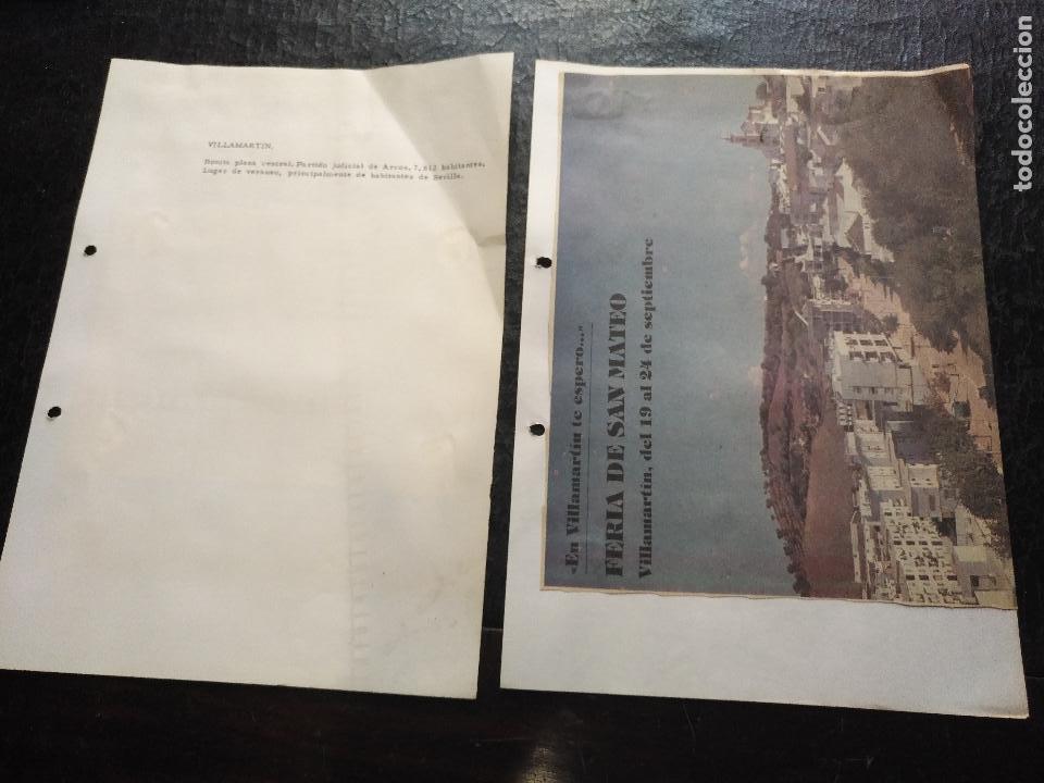 COLECCION DOCUMENTACION PROVINCIA DE CADIZ POR PUEBLOS - VILLAMARTIN (Coleccionismo - Documentos - Otros documentos)