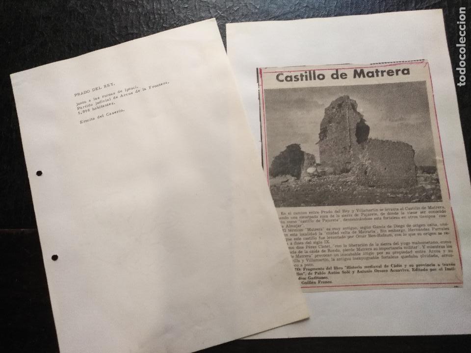 COLECCION DOCUMENTACION PROVINCIA DE CADIZ POR PUEBLOS - PRADO DEL REY CASTILLO (Coleccionismo - Documentos - Otros documentos)