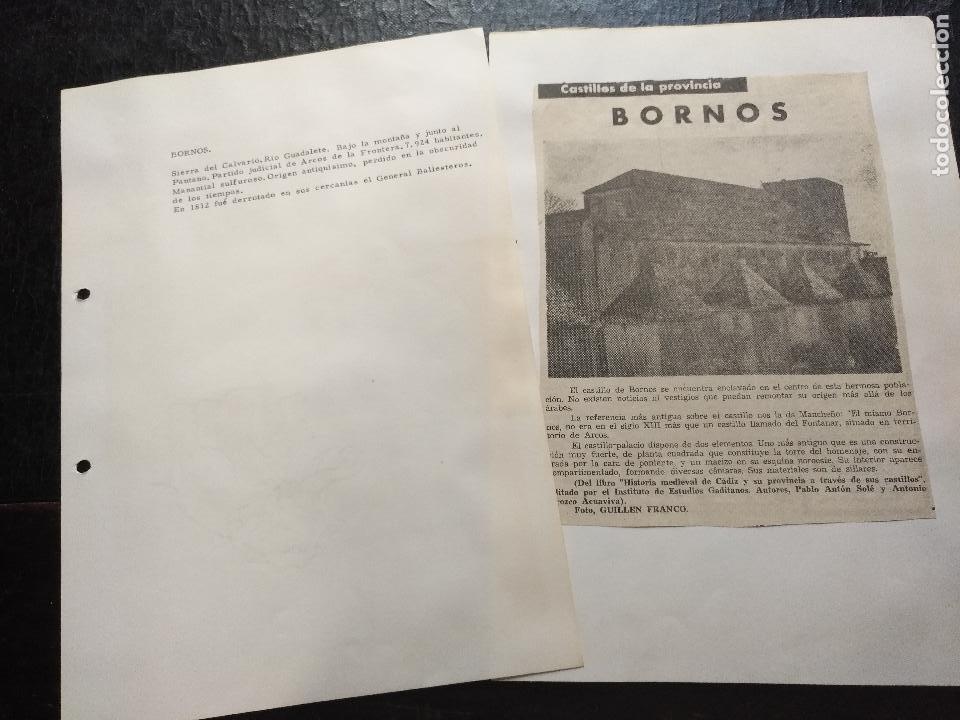 COLECCION DOCUMENTACION PROVINCIA DE CADIZ POR PUEBLOS - BORNOS - CASTILLO (Coleccionismo - Documentos - Otros documentos)