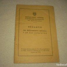 Documentos antiguos: MUTUALIDAD LABORAL SIDEROMETALURGICA DE BARCELONA.. REGLAMENTO Y ESTATUTOS 1954.. Lote 128454659