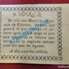 Documentos antiguos: SIGLO XIX, PARTICIPACION O CEDULA RIFA MANTILLA ENCAJE DE FLANDES, DOS CUARTOS, MUY RARA. Lote 128474123