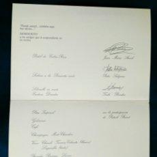 Documentos antiguos: JOSE MARIA ARZAC, PEDRO SUBIJAMA..MENÙ LOREAL. ENVIO INCLUIDO EN EL PRECIO.. Lote 128474231