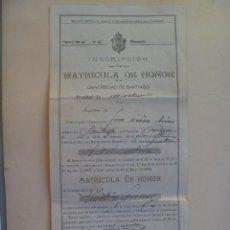 Documentos antiguos: UNIVERSIDAD SANTIAGO ( COMPOSTELA ): INSCRIPCION MATRICULA DE HONOR PRACTICAS FORENCES , 1929. Lote 128503203