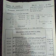 Documentos antiguos: PRESUPUESTO EXTRAORDINARIO CONSTRUCCIÓN CANAL ISABEL II. 1935.. Lote 128530271