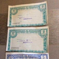 Documentos antiguos: PAGOS AL ESTADO. LOTE DE 3.. Lote 128647427