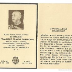 Documentos antiguos: RECORDATORIO FUNEBRE DE FRANCISCO FRANCO BAHAMONDE CON MENSAJE AL DORSO. Lote 128667123