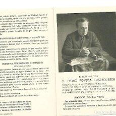Documentos antiguos: RECORDATORIO FUNEBRE DE PEDRO POVEDA CASTROVERDE -MARTIRIZADO EN MADRID EL 28 - 7 - 1936. Lote 128667287