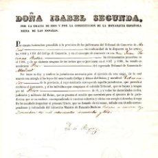 Documentos antiguos: TRIBUNAL DE COMERCIO: NOMBRAMIENTO DE PRIOR FIRMADO POR ISABEL II Y EL MINISTRO ESTEBAN COLLANTES.. Lote 128667799