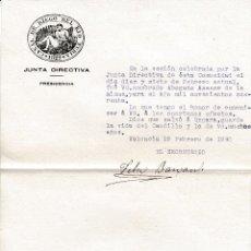 Documentos antiguos: 1940 VALENCIA. OFICIO CANAL DE RIEGO DEL RIO TURIA. NOMBRAMIENTO DE ABOGADO DE LA MISMA. Lote 128669231