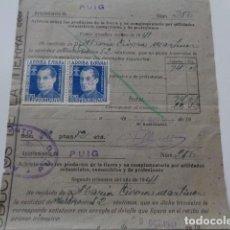 Documentos antiguos: EL PUIG. VALENCIA. ARBITRIO PRODUCTOS DE LA TIERRA. 1941. 2 VIÑETAS JOSE ANTONIO 10 CENTIMOS.. Lote 128672583