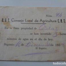 Documentos antiguos: SAGUNTO. VALENCIA. UGT. CNT. CONSEJO LOCAL DE AGRICULTURA, HORAS TRABAJADAS EN FINCA. GUERRA CIVIL. Lote 128752179