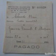 Documentos antiguos: VALENCIA. ASOCIACIÓN DE MUDANZAS DE MUEBLES. GUERRA CIVIL. 1938. UGT CONTROL. . Lote 128752227