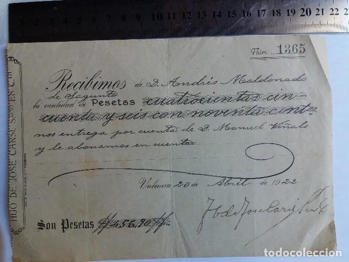 RECIBO DE PAGO 1922 - VALENCIA - SAGUNTO (Coleccionismo - Documentos - Otros documentos)