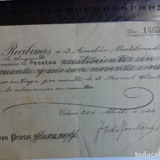 Documentos antiguos: RECIBO DE PAGO 1922 - VALENCIA - SAGUNTO . Lote 128801327