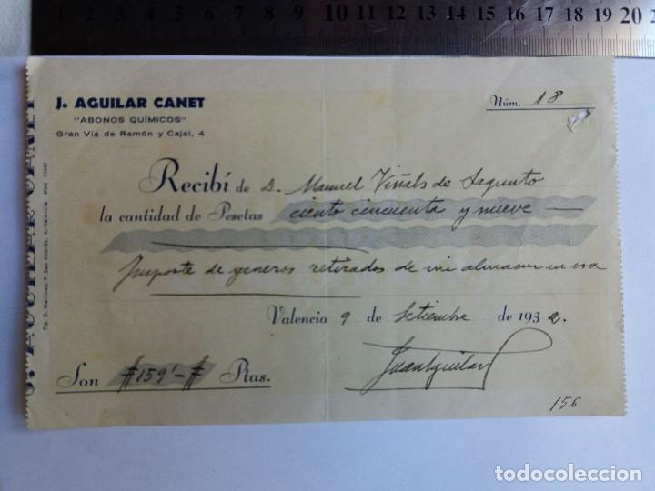 RECIBO DE PAGO 1932 - VALENCIA - SAGUNTO - ABONOS QUIMICOS (Coleccionismo - Documentos - Otros documentos)