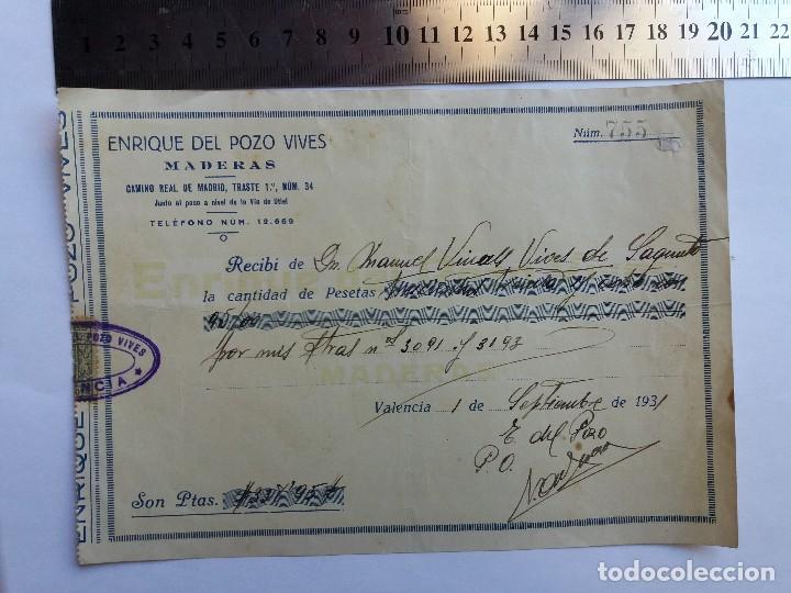 RECIBO DE PAGO 1931 - VALENCIA - SAGUNTO - MADERAS (Coleccionismo - Documentos - Otros documentos)