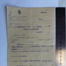 Documentos antiguos: RECIBO DE PAGO 14.03.1935 - BANCO ZARAGOZANO - BANCO DE VIZCAYA - SAGUNTO - BARCELONA. Lote 128803495
