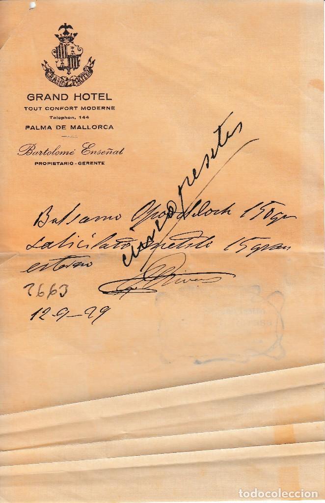1929 PALMA DE MALLORCA CARTA COMERCIAL GRAN HOTEL BARTOLOME ENSEÑAT (Coleccionismo - Documentos - Otros documentos)