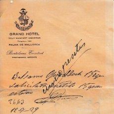 Documentos antiguos: 1929 PALMA DE MALLORCA CARTA COMERCIAL GRAN HOTEL BARTOLOME ENSEÑAT. Lote 128827007