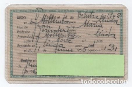 Documentos antiguos: (ALB-TC-1) DNI DOCUMENTO NACIONAL DE IDENTIDAD VERDE EXPEDIDO LERIDA 1955 - Foto 2 - 128838627