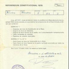Documentos antiguos: REFERENDUM CONSTITUCIONAL 1978 RATIFICACION CONSTITUCION RECEPCION DEL JUEZ MESA ELECTORAL BARCELONA. Lote 128847135