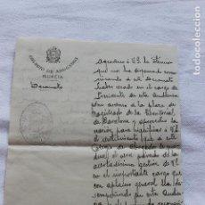 Documentos antiguos: CARTA MANUSCRITA EMILIO DIAZ DE REVENGA, DECANO COLEGIO ABOGADOS DE MURCIA, 1920. Lote 129103635