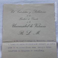 Documentos antiguos: UNIVERSIDAD DE VALENCIA, FACULTAD DE DERECHO. 1925. Lote 129104835