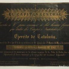 Documentos antiguos: INVITACION HONRAS FUNEBRES POR MUERTOS INVASION CUBA 1851. CAPITAN GENERAL. EJERCITO CATALUÑA. . Lote 129174407