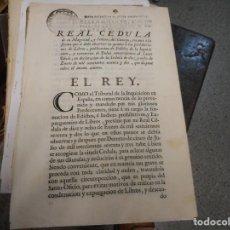 Documentos antiguos: REAL CEDULA DE 1768 EN LA QUE SE DECRETA A LOS INQUISIDORES ORDENES DE COMO CENSURAR LIBROS. Lote 130248254