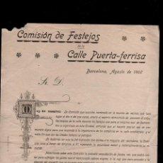 Documentos antiguos: 26-19 MODERNISMO FOLLETO PUBLICITARIO DE LA COMISION DE FESTEJOS DE LA CALLE PUERTA - FERRISA, DE B. Lote 130267278