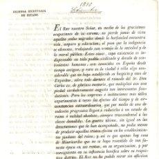 Documentos antiguos: CIRCULAR REAL PARA ESTABLECIMIENTO DE CASAS DE MISERICORDIA Y EXPOSITOS. MADRID, 1816. Lote 130329224