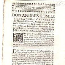 Documentos antiguos: REAL PRAGMATICA PARA ESTABLECIMIENTO DEL OFICIO DE HIPOTECAS. VALENCIA, 1760. Lote 130330640