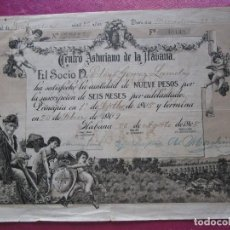 Documentos antiguos: CENTRO ASTURIANO DE LA HABANA CUBA ABONO DEL SOCIO SR LAMELAS AÑO 1908 30 X22 CM.. Lote 130397726