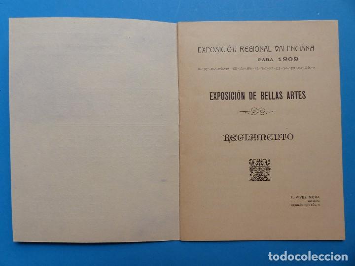 Documentos antiguos: REGLAMENTO, EXP. BELLAS ARTES - VALENCIA EXPOSICION REGIONAL VALENCIANA, AÑO 1909 - Foto 3 - 130427294