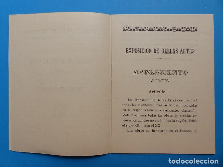Documentos antiguos: REGLAMENTO, EXP. BELLAS ARTES - VALENCIA EXPOSICION REGIONAL VALENCIANA, AÑO 1909 - Foto 4 - 130427294