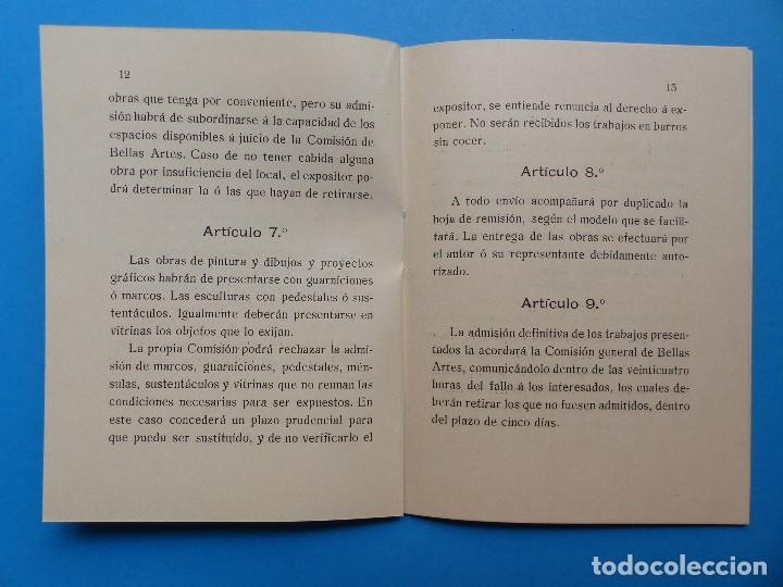 Documentos antiguos: REGLAMENTO, EXP. BELLAS ARTES - VALENCIA EXPOSICION REGIONAL VALENCIANA, AÑO 1909 - Foto 9 - 130427294