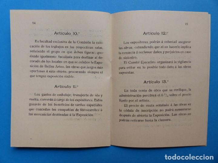 Documentos antiguos: REGLAMENTO, EXP. BELLAS ARTES - VALENCIA EXPOSICION REGIONAL VALENCIANA, AÑO 1909 - Foto 10 - 130427294