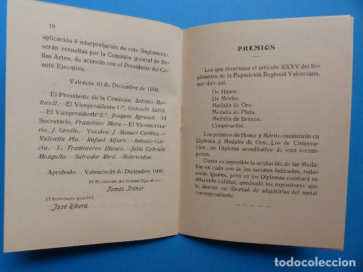 Documentos antiguos: REGLAMENTO, EXP. BELLAS ARTES - VALENCIA EXPOSICION REGIONAL VALENCIANA, AÑO 1909 - Foto 12 - 130427294