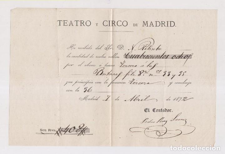 ABONO DEL TEATRO Y CIRCO DE MADRID DE 1872 (Coleccionismo - Documentos - Otros documentos)
