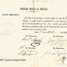 Documentos antiguos: SOCIEDA MINERA LA SULTANA FIGUEROLA VALLS TARRAGONA 1858 PAGO ACCIONES 130 REALES SR JOAQUIN JORDA. Lote 130497718
