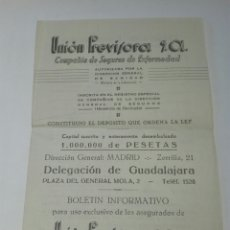 Documentos antiguos: DOCUMENTO BOLETÍN INFORMATIVO SEGURO UNION PREVISORA 1952. Lote 130521496