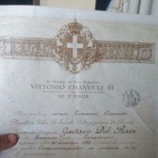 Documentos antiguos: CONCESIÓN DEL TÍTULO INGENIERO CIVIL CONCEDIDO POR VICTORIO MANUEL DE ITALIA EN PERGAMINO 1933. Lote 130536978