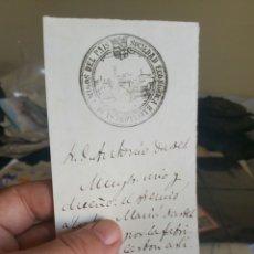 Documentos antiguos: DOCUMENTO DE LA SOCIEDAD ESPAÑOLA BARCELONESA DE AMIGOS DEL PAÍS AÑO 1869. Lote 130537458