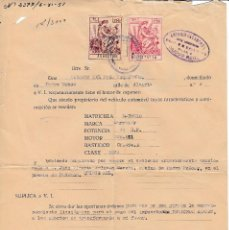 Documentos antiguos: 1951 PEDRO MUÑOZ (CIUDAD REAL). LOTE DOCUMENTOS TAXI CHRYSLER. Lote 130727329