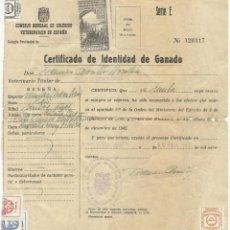 Documentos antiguos: CERTIFICADO DE IDENTIDAD DE GANADO 1965. Lote 131064672