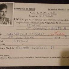 Documentos antiguos: FICHA ALUMNO CON FOTO - CARNET UNIVERSIDAD DE MADRID FACULTAD DE FILOSOFIA Y LETRAS CURSO 1960 1961. Lote 131132736