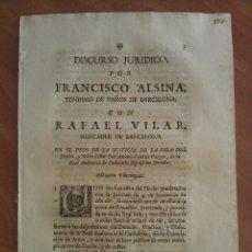 Documentos antiguos: 1716 DISCURSO JURÍDICO - BARCELONA. Lote 131210088