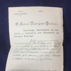 Documentos antiguos: CERTIFICADO SACERDOTE SANA DOCTRINA OBISPADO DIOCESIS CIUDAD RODRIGO 1931 ORIGINAL 32X22CMS. Lote 131558250