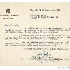Documentos antiguos: MADRID 1958 LIBROS.CARTA DE VÍCTOR AÚZ CASTRO DEL SINDICATO ESPAÑOL UNIVERSITARIO (SEU). Lote 131685174