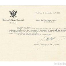 Documentos antiguos: MADRID 1957 CARTA EDITORIAL PRENSA ESPAÑOLA. BAEZA. FIRMA GONZALO FERNÁNDEZ DE LA MORA (EX MINISTRO). Lote 131685370
